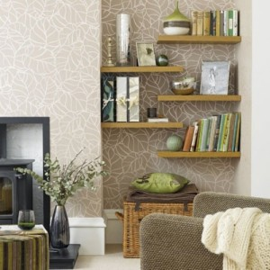 Using simple shelves gives the unusable niche a fresh look, that draws the eye out. It also creates more storage space.