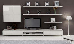 Notice how the entertainment unit blends perfectly with all the other elements in the decor, like the display items and lamp. The look achieved is simplistic while at the same time eye-catching.