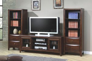 An old TV cabinet gets a facelift by flanking it with two tall wooden cabinets. The complete entertainment unit now has a lot more character and looks balanced.