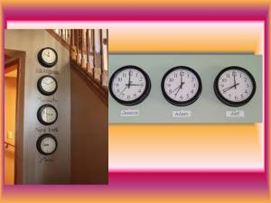 You can opt to display clocks in a row showing time from different countries, or you can even get creative and name them by the members of your family living in different time zones for a war, creative look that is very personalized