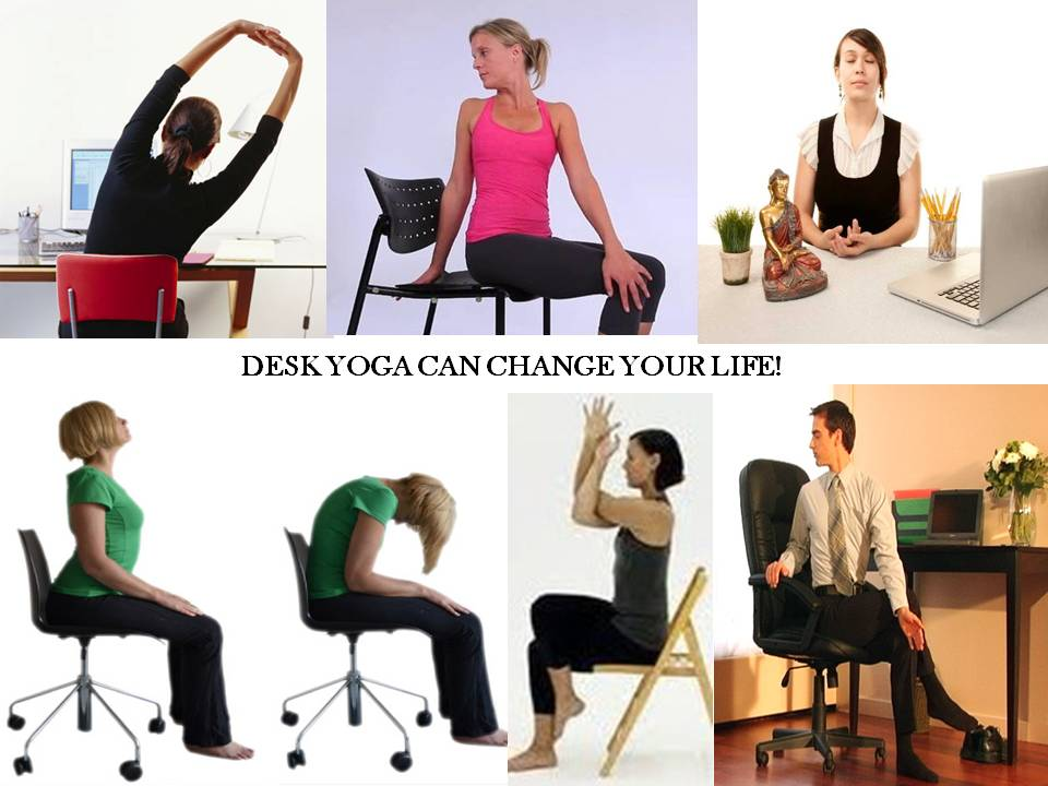 Desk Yoga will greatly improve spinal flexibility. The deep breathing exercises that go hand in hand with it will alleviate stress, leaving you refreshed and invigorated